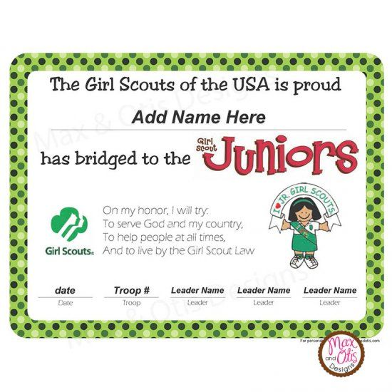 Girl Scout printable bridging certificate for Brownies to ...