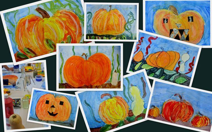 Pompoenen geschilderd door leerlingen uit groep 3 t/m 5 Naschoolse lessen op de Kardinaal Alfrinkschool. Zijn ze niet kleurrijk?