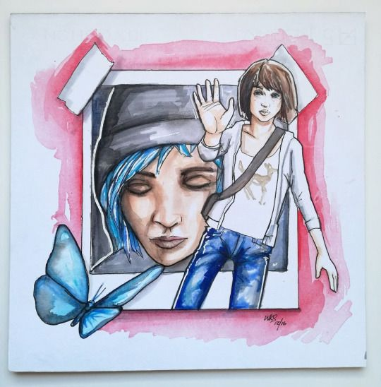 @MrSmithMachine Max and Chloe from Life is Strange.  Watercolour and markers on Fabriano board.