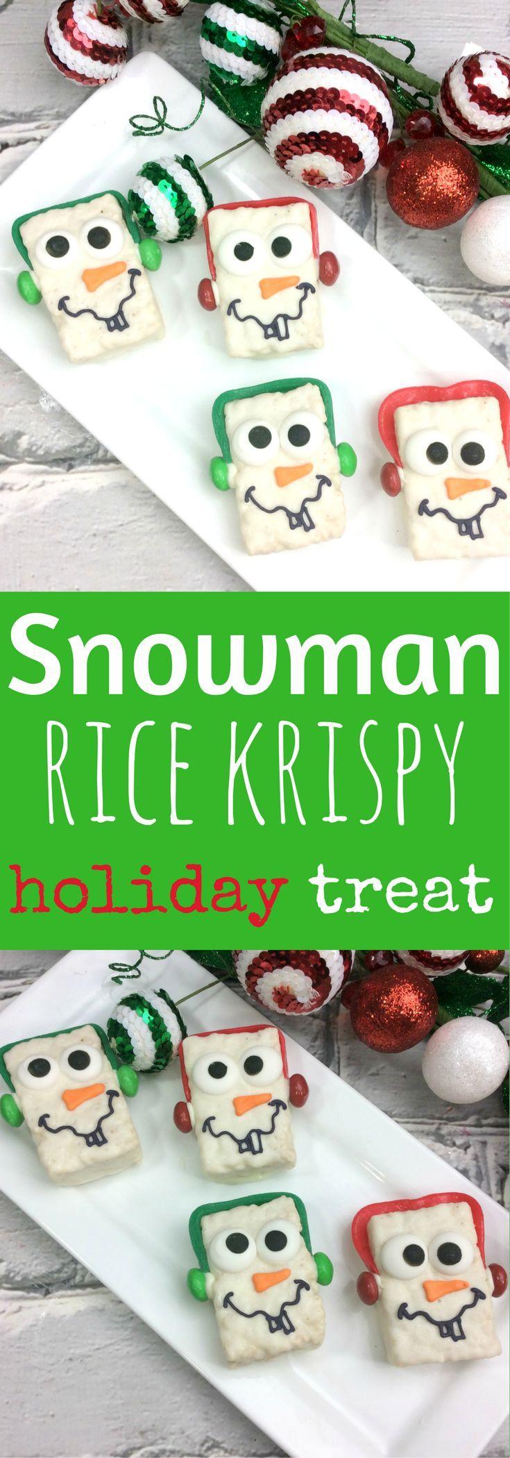 Snowman Rice Krispy Treat- Easy Holiday recipes for kids- holiday rice krispy treats- christmas recipes for kids- Your kids will love these adorable Snowman Rice Krispy Treats.