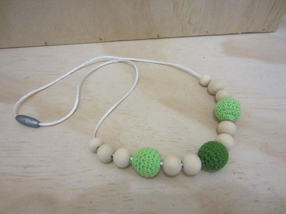 Handmade Wooden and Crochet Covered bead pendant  by ImodFashion