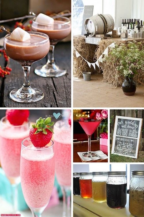 Barra de bebidas para bodas. Ideas de cocktail para bodas invernales: Hot Cocoa Martini. Decoración de barra de tragos estilo country chic. Mimosas de crema de fresas: champagne con una refrescante crema helada de fresas. Para una boda en rosa, escoge Pink martinis: 2 oz Bacardi 1/2 oz licor de frambuesa 1/2 oz Triple sec 1 oz jugo de piña 1 chorrito de jugo de arándanos. Letrero de Open Bar. Para los mas peques unos raspados mexicanos.