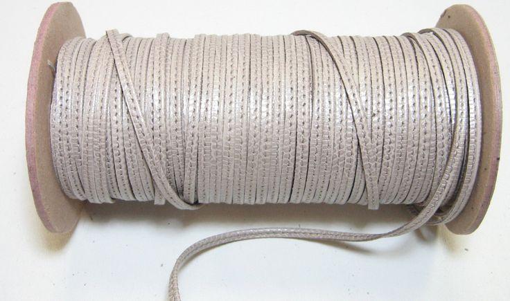 "1/8"" Stitched Jewelry Cord Lacing in Squashed Plessida Cowhide (10 yds) 3596XD9 beige; tan; mushroom; bone"