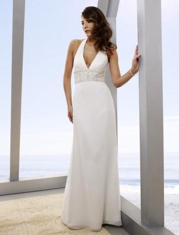 Sheath/Column Sleeveless Embroideried Chiffon White Beach Wedding Dress for Brides