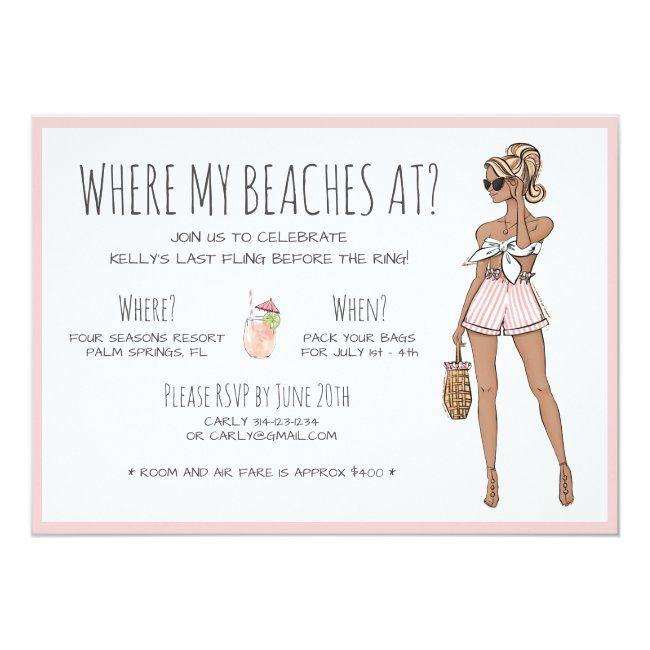Blonde Bride Bachelorette Beach Party Weekend Invitation Zazzle Com Bachelorette Party Beach Bride Bachelorette Beach Bachelorette