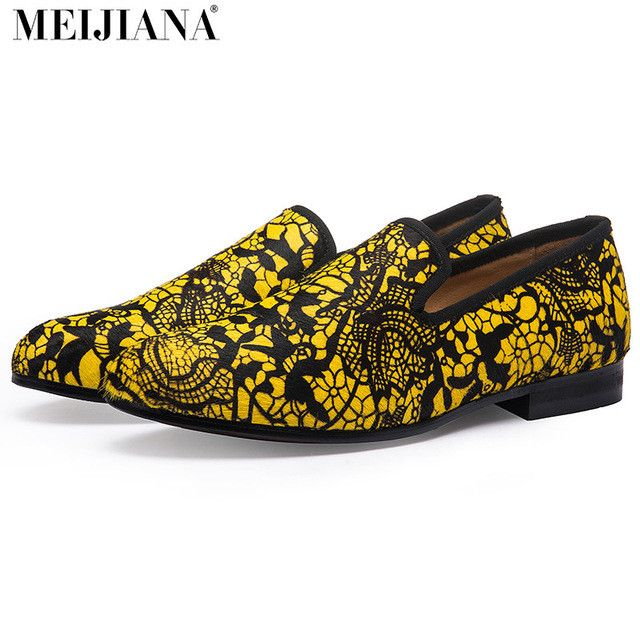 Red bottom shoes for men superstar luxurious men dress shoes men's loafers human race lebron shoes Yellow pattern leather