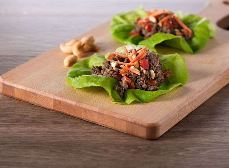 Lighten up lettuce wraps by blending half the beef with meaty tasting mushrooms. #MightyMushrooms