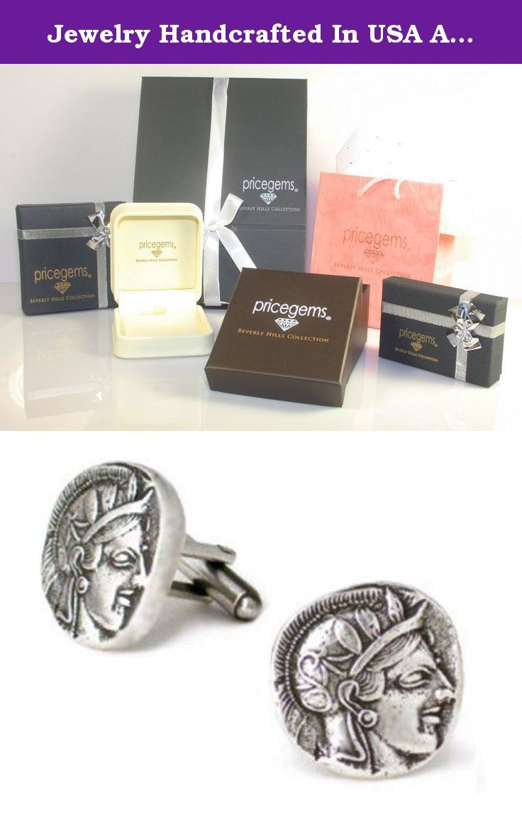 Jewelry Handcrafted In USA Antique Pewter Classic Athena Greek Coin Mens Cufflinks, Museum Replicas. Lustrous antique silver-tone finish coats smart cufflinks bearing the profile of the Greek goddess in helmet Athena. After the Persian wars, Athens was the dominant naval power of the eastern Mediterranean; its successful commercial power led to the creation of an international coinage. These cufflinks are fashioned after ancient Athenian coins, first produced in the 490s BC and imitated…
