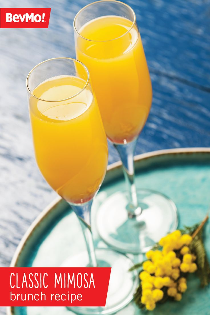 What's brunch without a boozy beverage?! Check out this recipe from BevMo! for a Classic Mimosa just in time for your afternoon get-together with your girlfriends. Everyone is sure to love the sweet taste of orange juice and sparkling wine.
