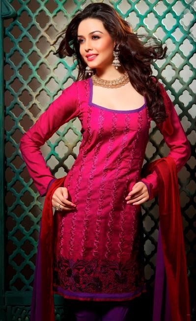 $33.48 Pink Cotton Embroidered Casual Wear Churidar Salwar Suit 26269