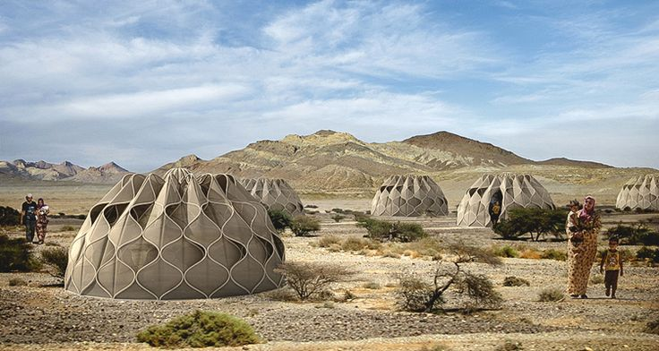 The lightweight, portable, and flexible shelters for disaster zones are made of a structural woven fabric that can adapt to hot and cold climates.