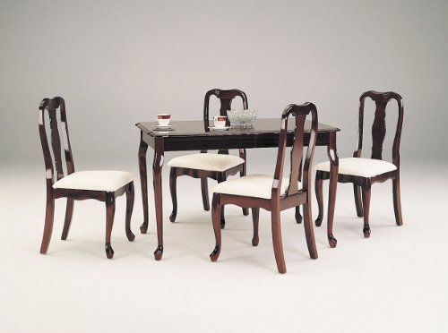 Acme 06004 5 Piece Queen Ann Dining Set Cherry Finish 36 By 48