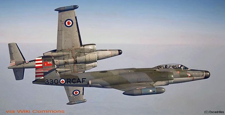Very nice view air / air of two Avro Canada CF-100 Canuck    from 423 Squadron based at Grostenquin for all weather interception.
