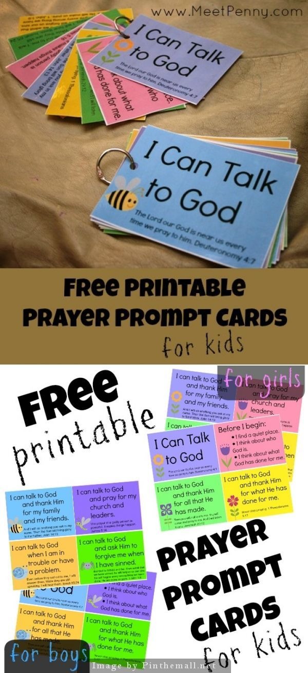 I Can Talk to God - Free printable prayer prompt cards for boys and girls - As we are spending the month improving the spiritual health of our family, we have tried to be more intentional during our evening prayer and song before bed.