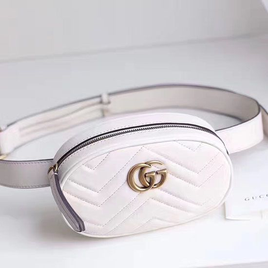 Gucci GG Marmont Matelasse Leather Belt Bag White 476434  3b2024bd357