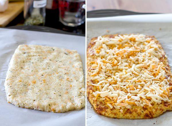 Flat cauliflower crust with cheddar and mozzarella cheese