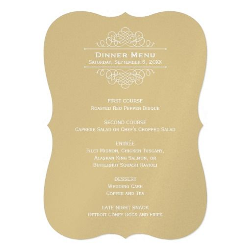 Wedding Dinner Menu Card | Gold Classic Elegance  Formal Dinner Menu Template