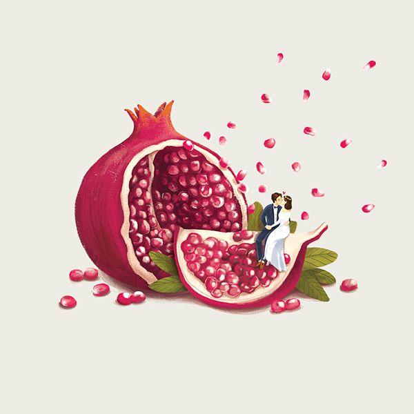 """石榴 多子多福 POMEGRANATE: """"One hundred seeds, one hundred children"""", the pomegranate is a powerful symbol of fertility, abundance and virtuous offspring.___Check out this at Behance Project: Mika Chinese Wedding Gift Box"""
