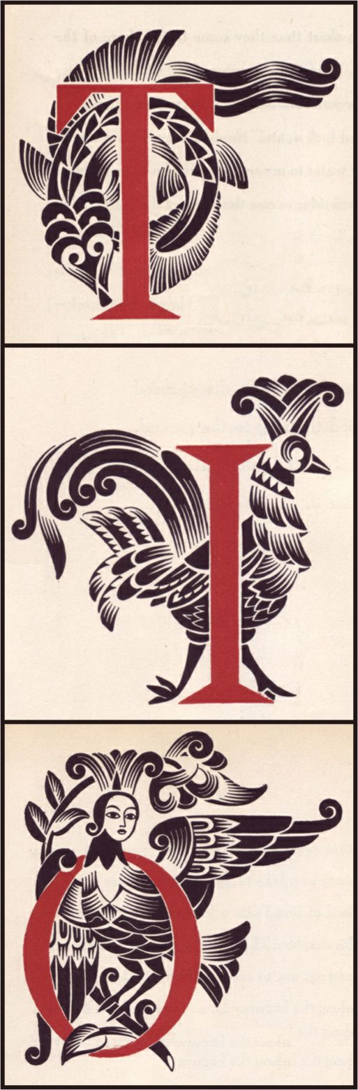 Illustrated initials by Vera Bock for A Ring and a Riddle by M. Ilin and E. Segal, published in 1944.