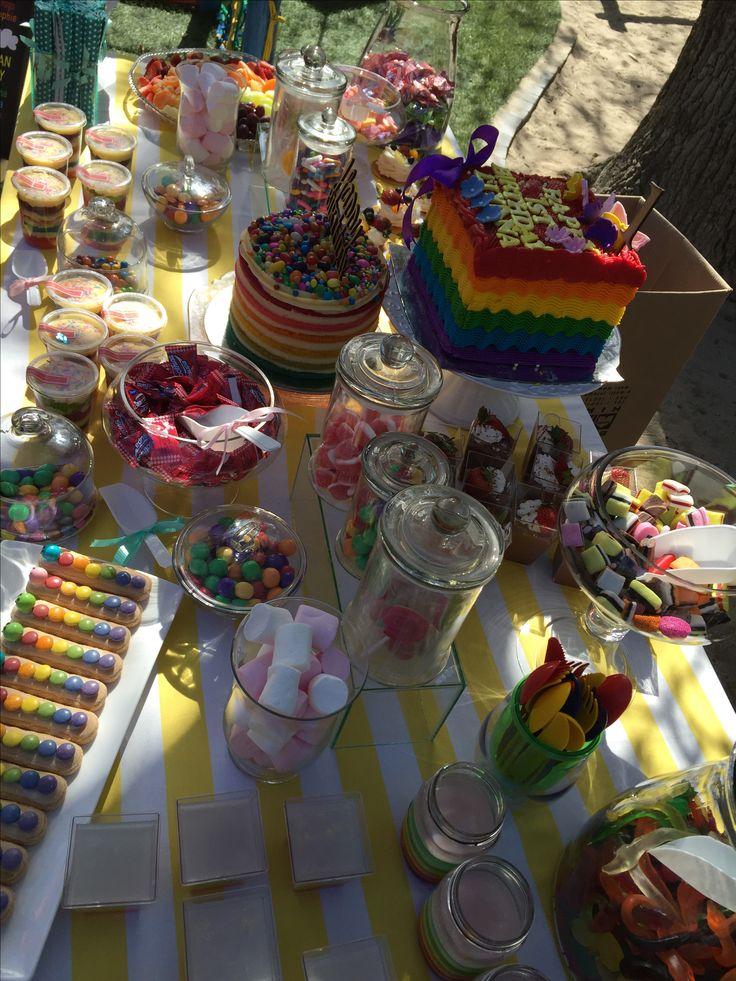 Rainbow candy table!