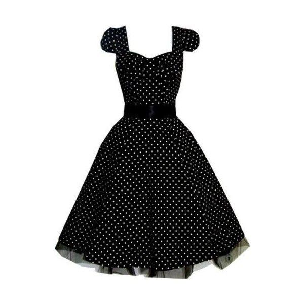 Black Polka 1950s Evening Prom Dress ❤ liked on Polyvore featuring dresses, plus size dresses, womens plus size cocktail dresses, plus size holiday dresses, cocktail prom dress and holiday cocktail dresses