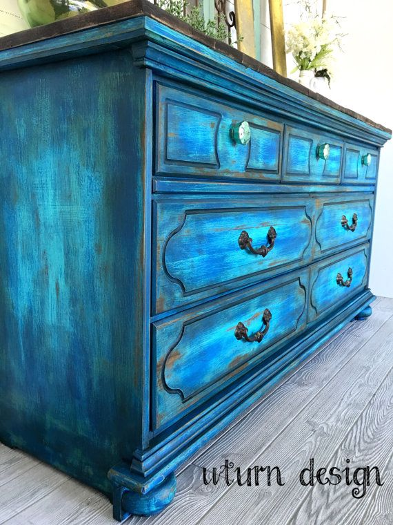 Sold colbalt blue painted dresser buffet tv stand by UTurnDesign