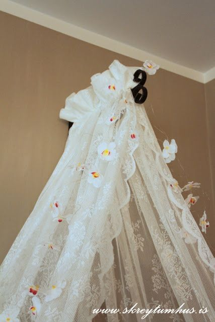 Heart Sweet Home » Ikea Alvine lace curtains hung on planter hook to make a canopy