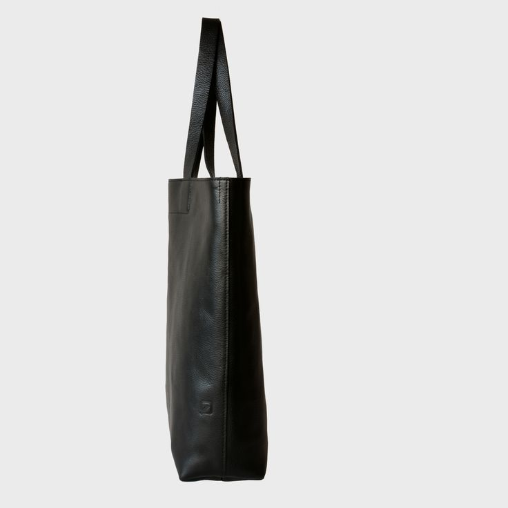 simple black leather tote