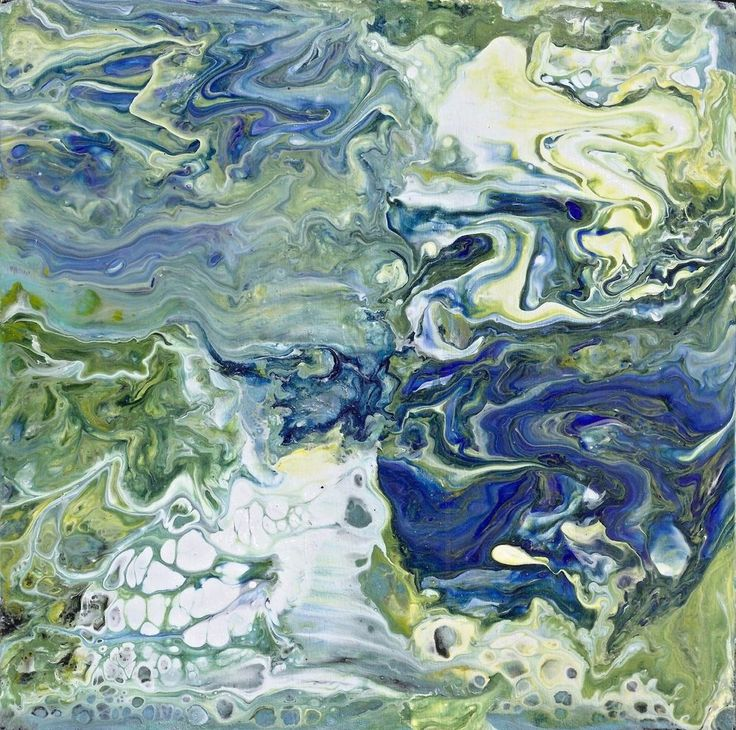 6x6 Acrylic Pour Wood panel Blues Greens Abstract painting Art Penny Lee StewArt #AcrylicPouring