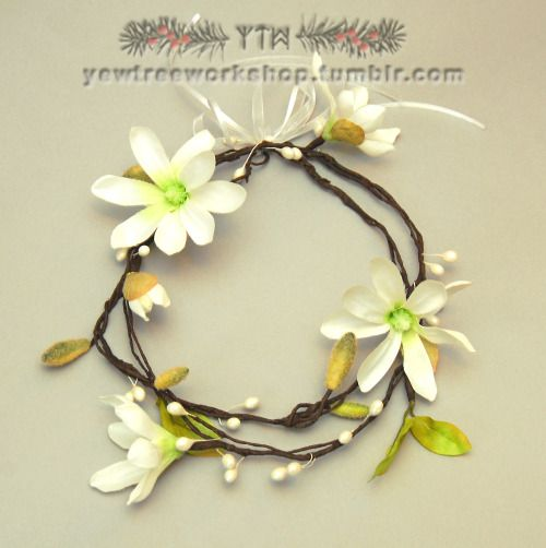 White magnolia wedding wreath with buds and resin droplets by Yew Tree Workshop