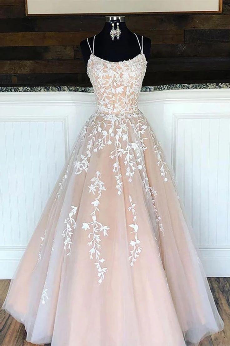 Bretelles spaghetti longueur de plancher robe de bal avec des appliques, robe de soirée longue à lacets dos