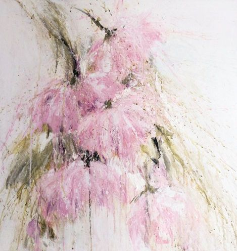 """20170309-weeping-peonies 24"""" X 24 """" gallery wrapped canvas acrylic mixed media"""