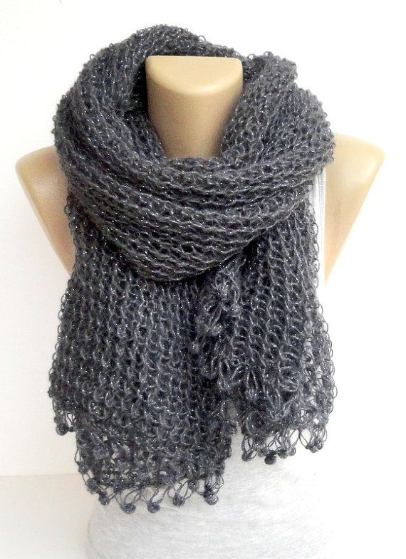 knit women scarf gray smoked scarves women scarf by senoAccessory, $55.00