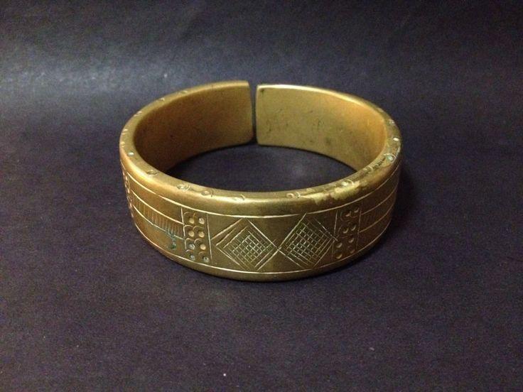 Estate Find - Vintage Solid Brass? Bangle with Etched Design
