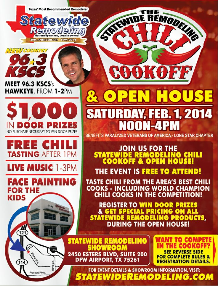 Statewide Remodeling's Chili Cook-Off & Open House - February 1, 2014, Dallas, TX.