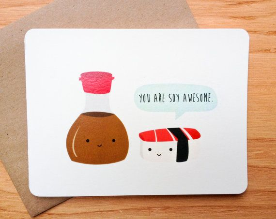 Sushi- Valentine - Pun - Funny - Card on Etsy, $4.00