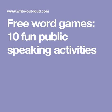 Free word games: 10 fun public speaking activities