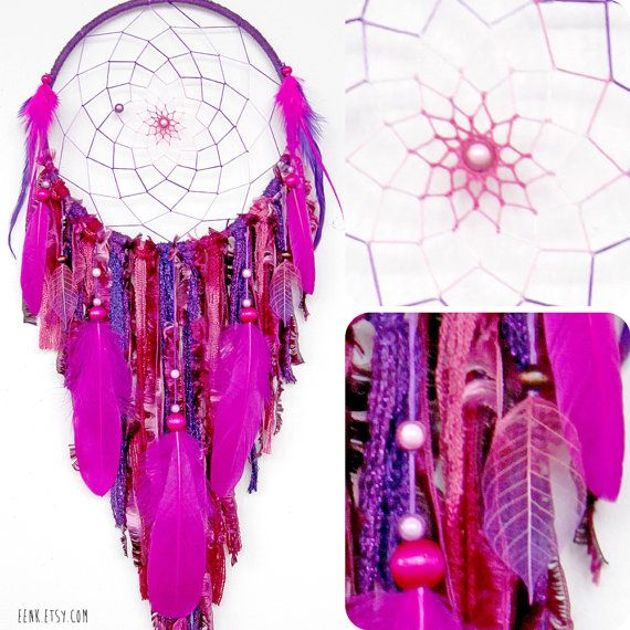Dreamcatcher- Crystal Cave Hidden in a Purple Forest Large Native Style by eenk, $79.00