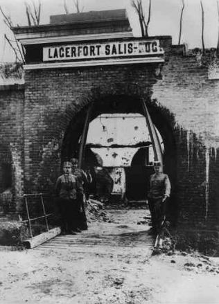WW1. A Gate into the Fortress City of Przemysl after Recapture with Austrian soldiers