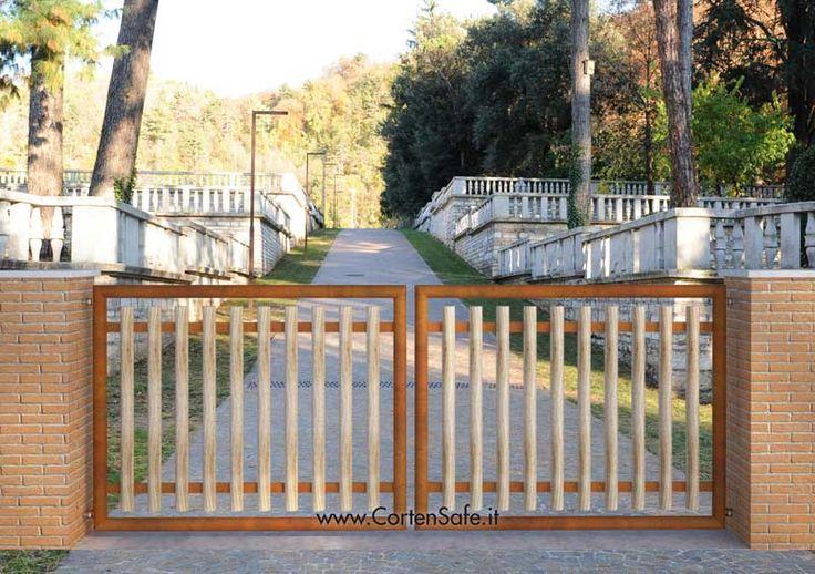 #Cancello in #corten con pali verticali. Modello Letizia.
