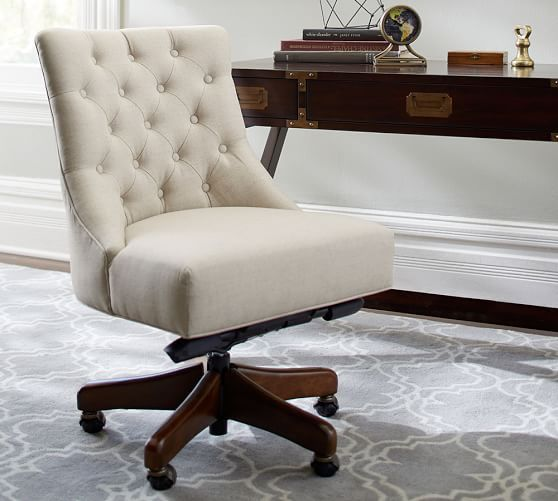 Dress your desk with the Hayes Tufted Swivel Desk Chair during our home office SALE this weekend!