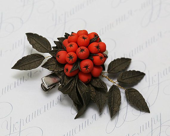 Rowan berry polymer clay brooch. Fall leaves by JewelleryForWorld