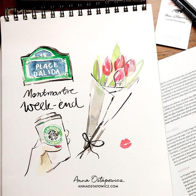 Montmartre weekend, Illustration anna Ostapowicz, #paris, #montmartre, #illustration