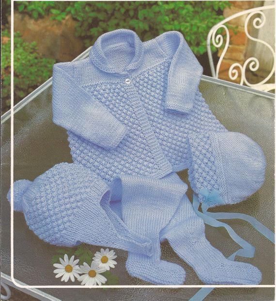This is for a PDF pattern not the actual garments in the photograph. A knitting pattern for a lovely Pram set for either a girl or boy. To fit sizes 18-20 Pattern for knitting with double knitting wool Needle size (UK10 and 8) US YARN EQUIVALENT Please check the tension/gauge
