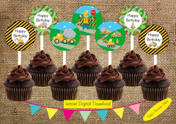 Digital  Construction 2 Inch Circle Cupcake Toppers. Party