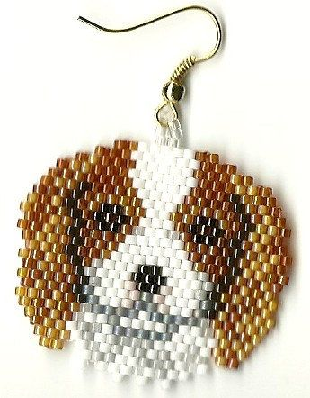 Hand beaded sweet little King Charles Springer Spaniel  dog head dangle earrings. , via Etsy.