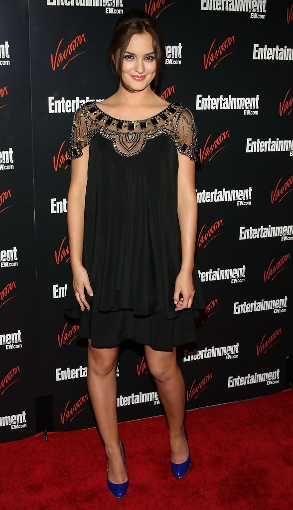 Actress Leighton Meester arrives for the Entertainment Weekly and Vavoom annual upfront party at the Bowery Hotel