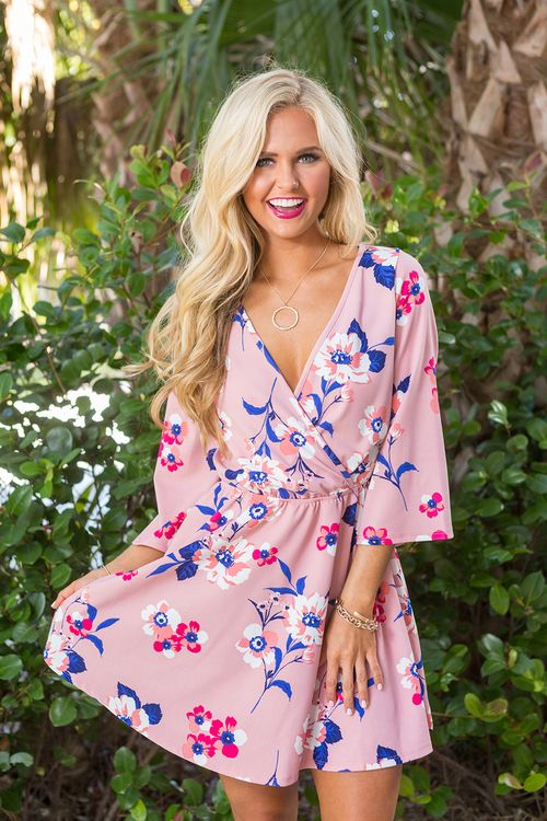Light Up My Life Floral Dress Mauve - The Pink Lily