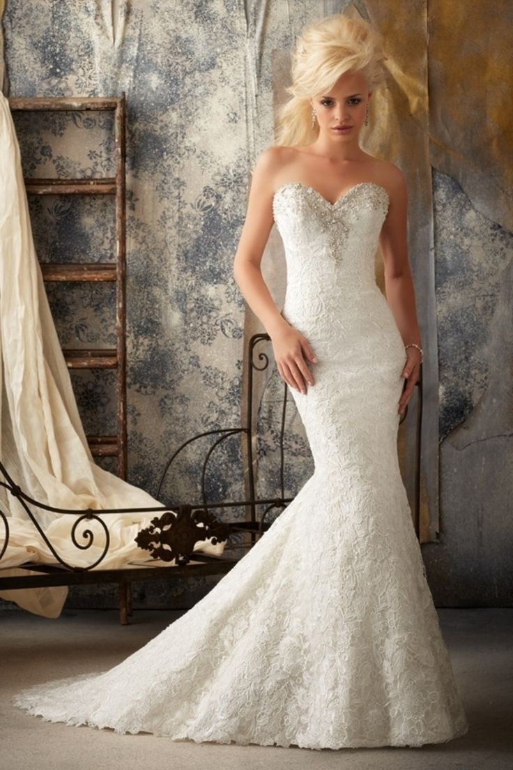 Shop 2013 Wedding Dresses Trumpet Mermaid Sweetheart Sweep Brush Train Lace Applique Online affordable for each occasion