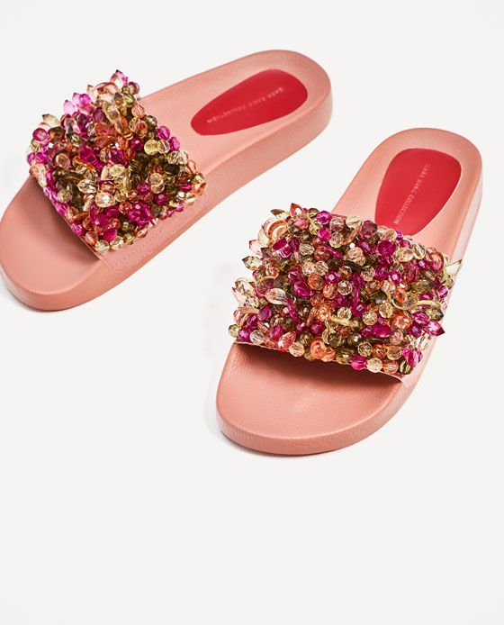 Image 5 of PINK BEADED SLIDES from Zara
